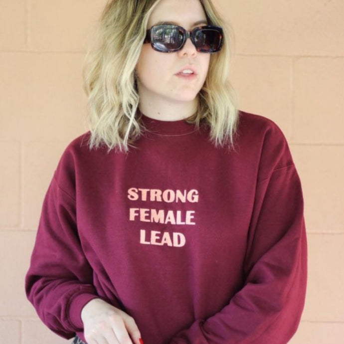 STRONG FEMALE LEAD Sweater - Wine & Salmon