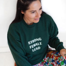 Load image into Gallery viewer, STRONG FEMALE LEAD Sweater - Bottle Green & Mint