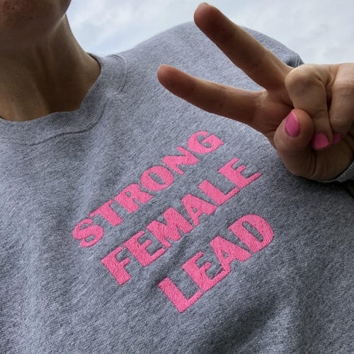 STRONG FEMALE LEAD Sweater (Steel and Hot P!NK)