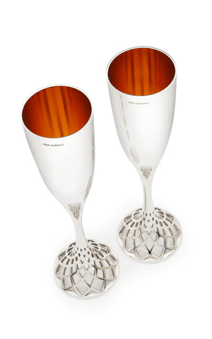 Paragon silver champagne flutes