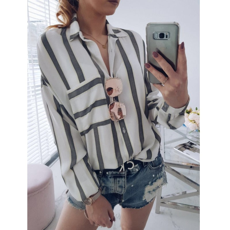Women Blouses Work Shirt - Striped Loose Turn Down Collar Top - ChicShines