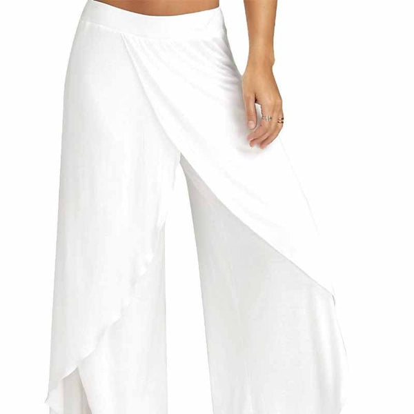 Mid Waist Wide Leg - Flowy Pant Trousers-  Casual, Summer, Beach - ChicShines