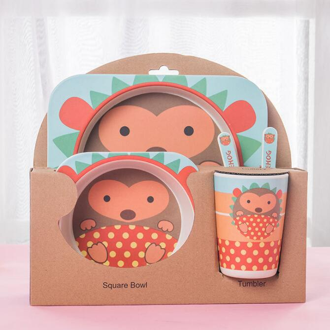 5pcs/set Children Baby Bamboo Fiber Tableware - Tableware - ChicShines
