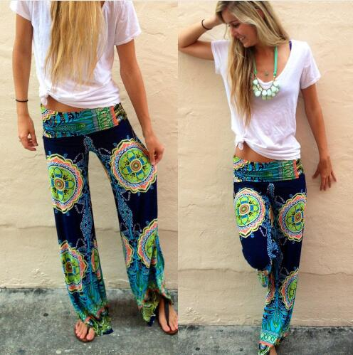 Floral Casual Wide Leg Long Harem Pants - Elastic Waist Palazzo Trousers - ChicShines