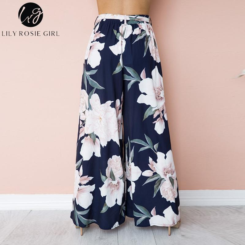 Lily Rosie Girl Floral Print Wide Leg Pants - High Waisted Summer Chiffon Trousers - ChicShines