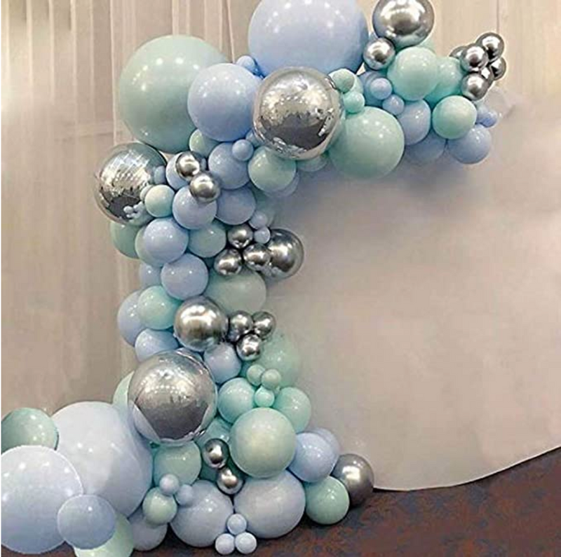 Macaron Blue Mint Pastel Balloons Garland Arch Kit -103 ct - ChicShines