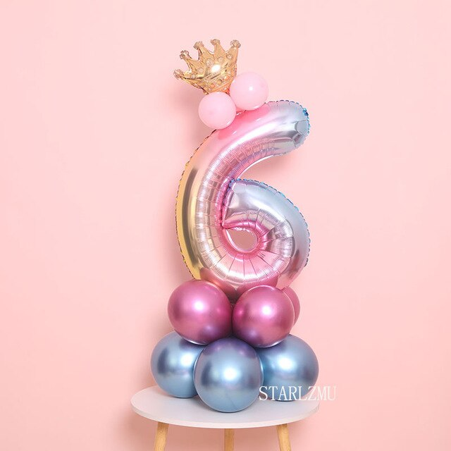 Blue Pink Gradient Birthday Crown Tower - ChicShines