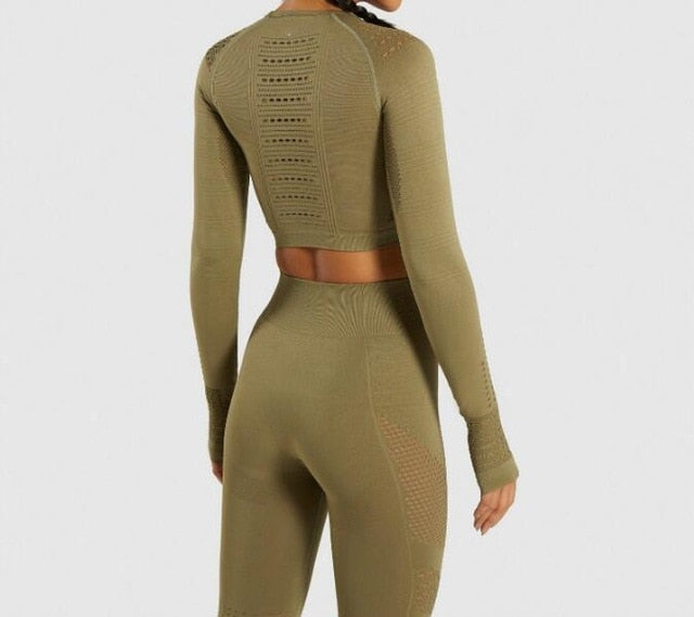 Women Gym Seamless 2 Piece Suit - High Waist Leggings And Shirts Sport - ChicShines