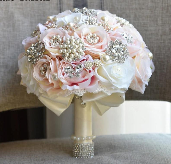 Rose Gold Blush Wedding Bouquet - ChicShines