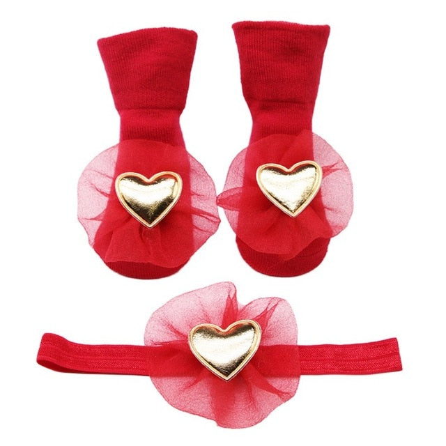 Infant Velvet Crown Head Band & Socks - ChicShines