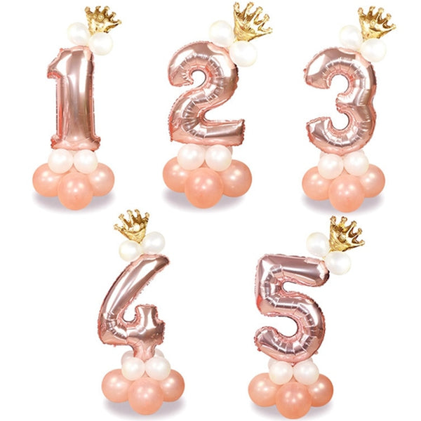 13Pc Rose Gold Number Foil Balloons - Birthday/ Anniversary - ChicShines