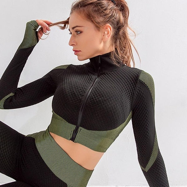 2 Pcs Pullover Sports Gym Suit- Leggings & Crop Top - ChicShines