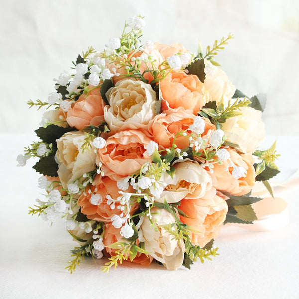 Peony & Silk Rose Flower Bouquet - ChicShines
