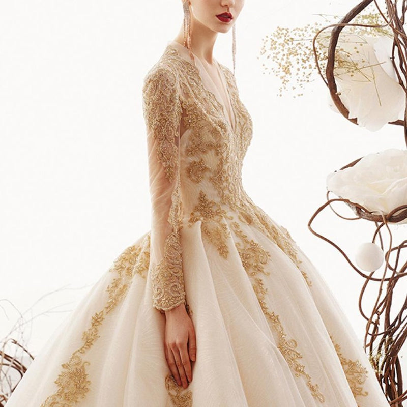 Princess Wedding Dress-  Gold Appliques Beading Long Sleeve-  Bridal Gown - ChicShines
