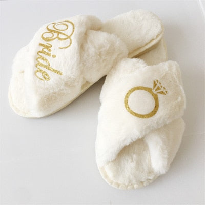 Coral Fleece Team Bride & Bride Slippers - ChicShines