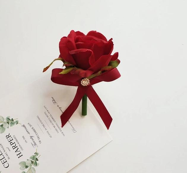 Boutonniere Groomsman Silk Roses & Bridesmaid Bracelets - ChicShines