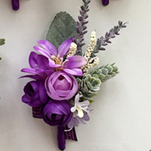 Lilac & Coral Silk Roses  Boutonniere - Wrist Corsage - ChicShines