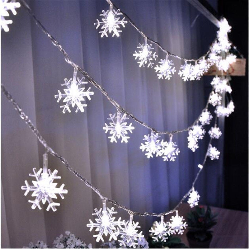 LED Snowflake String Lights -  Snow Fairy Garland - ChicShines