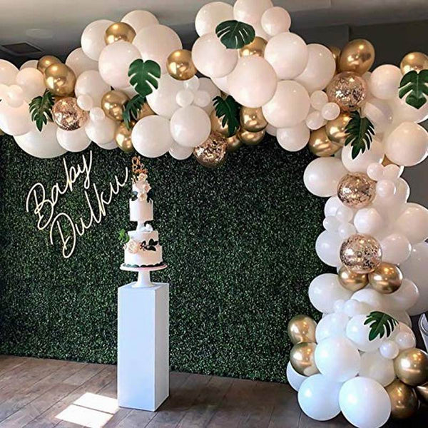 White Gold Confetti Balloons with Artificial Palm Leaves - 98 ct - ChicShines