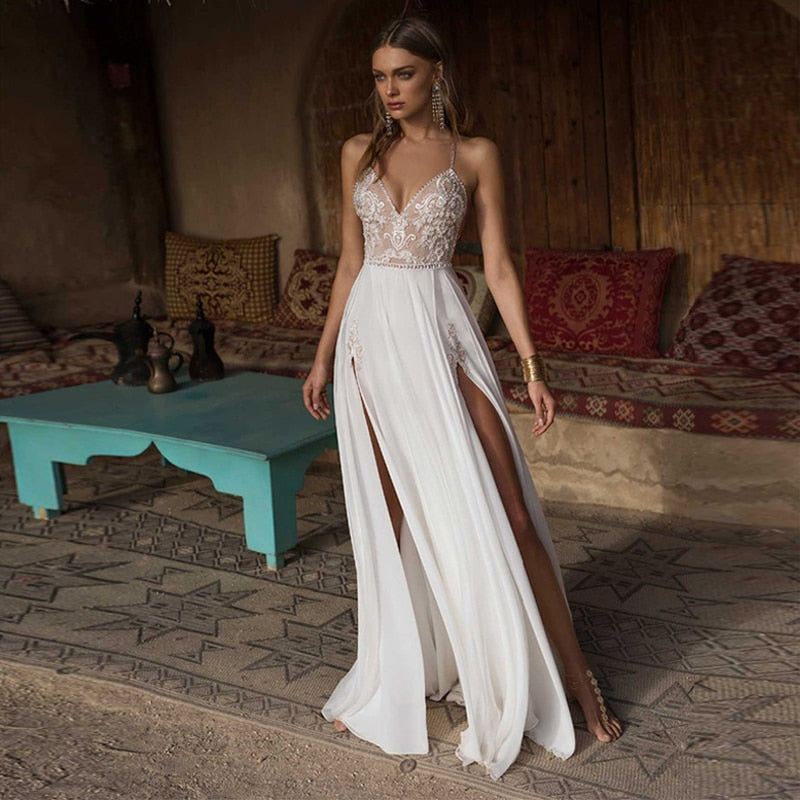 Side Slit Beach Wedding Dress - ChicShines