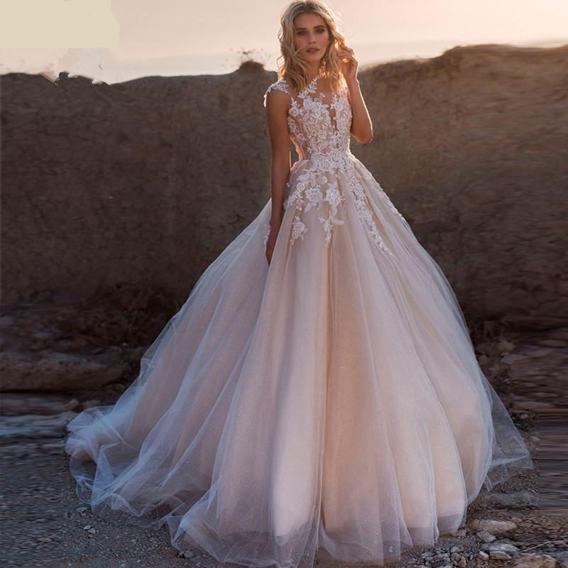 Scoop Lace Applique A Line Wedding Dress - Sleeveless Tulle Boho Bridal Gown - ChicShines