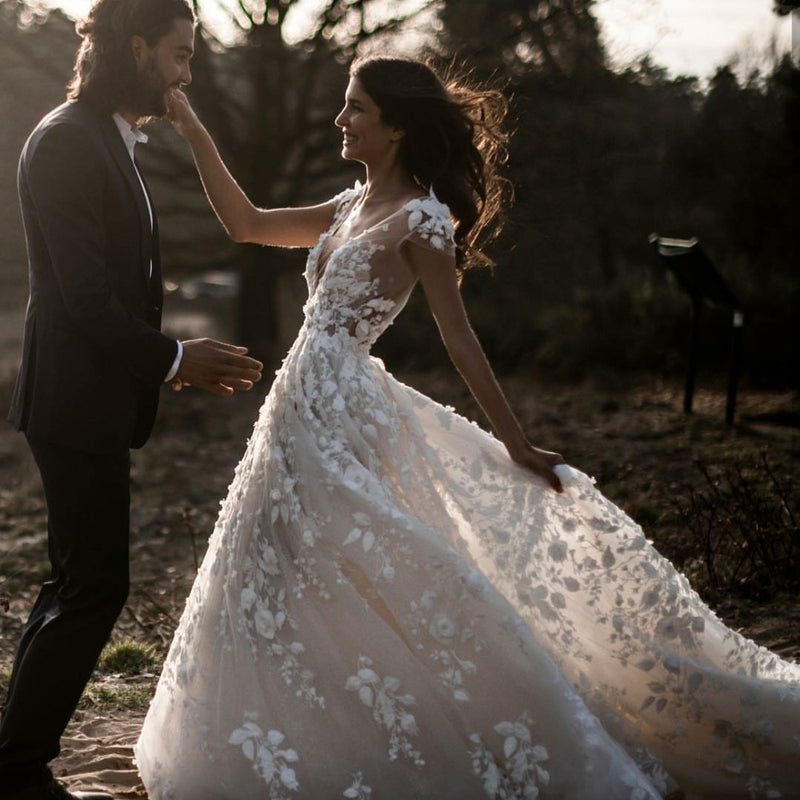 Bohemian Wedding Dress- 3d Floral Appliques - ChicShines