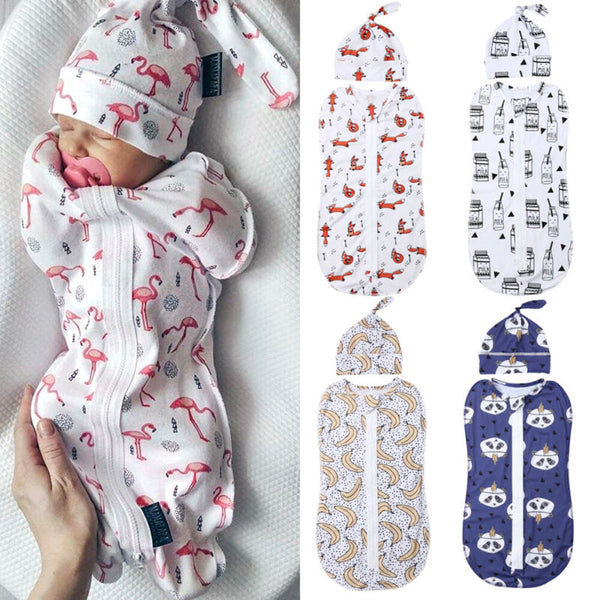2PCS Soft Baby Swaddle - Muslin Blanket - Newborn Infant Baby Sleeping Bag + Hat