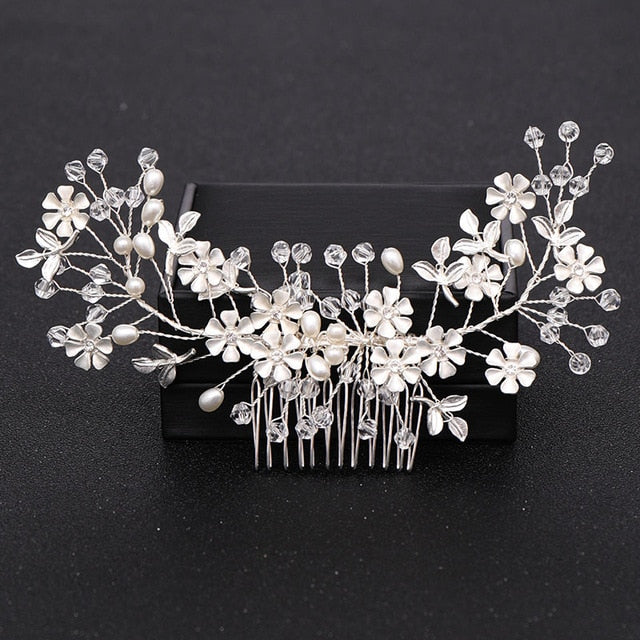 Silver Pearl Crystal Wedding Hair Combs - ChicShines