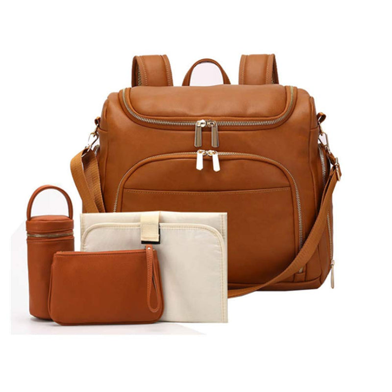 7-in-1 Baby Diaper Bag - Solid PU Leather