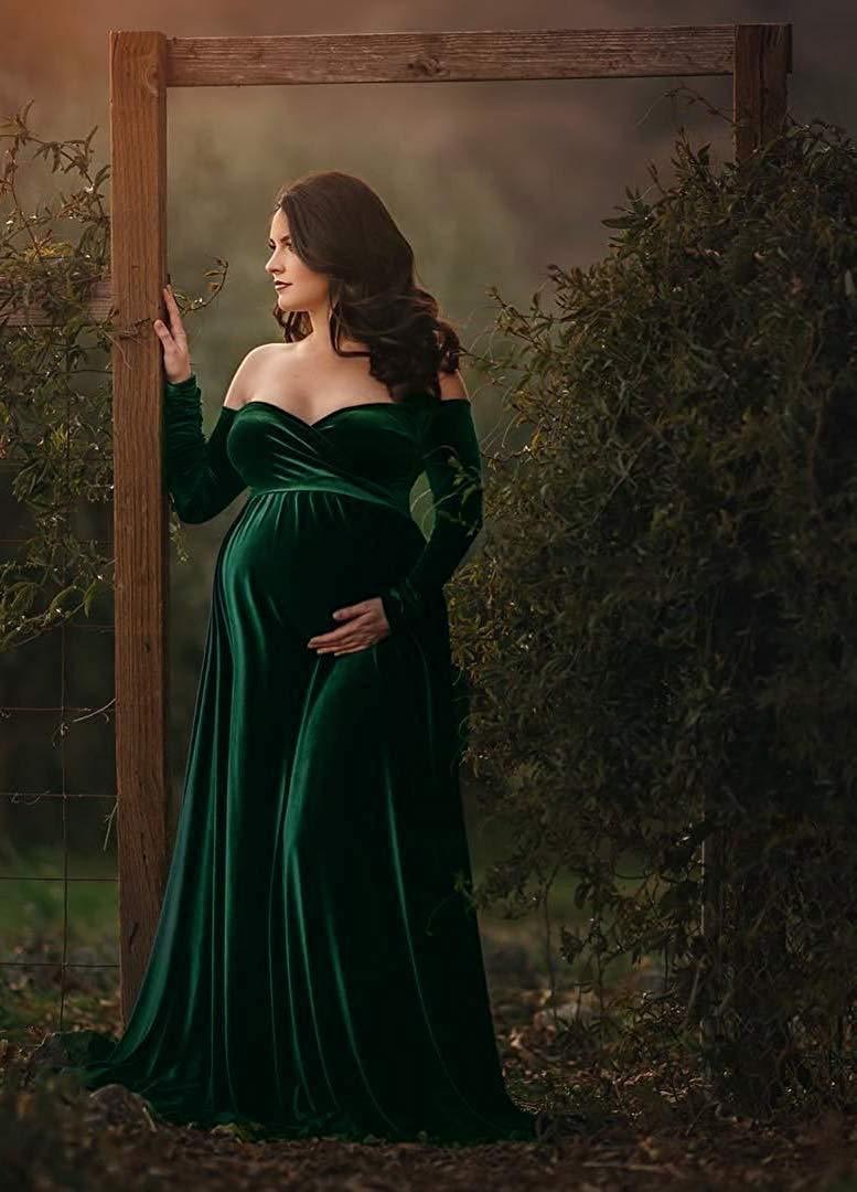 Velvet Maxi Gown Dress - V Neck Pregnancy Dress