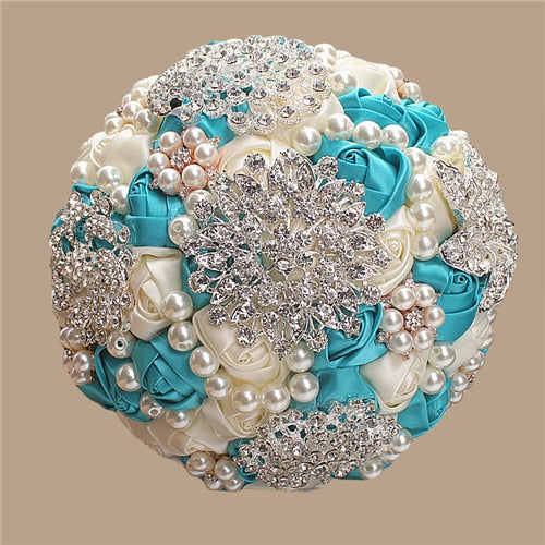 WifeLai-A 1Piece Elegant Custom Ivory Bridal Wedding Bouquets Stunning Pearls Beaded Crystal Brooch Stitch Wedding Bouquets W230 - ChicShines