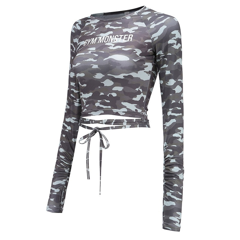 Solid Long Sleeve Yoga Crop Top - ChicShines