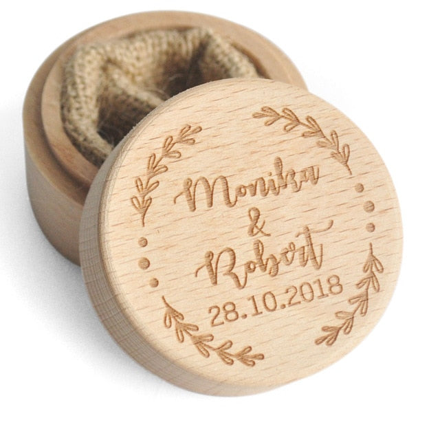 Personalized Rustic Wooden Ring Box Holder - ChicShines