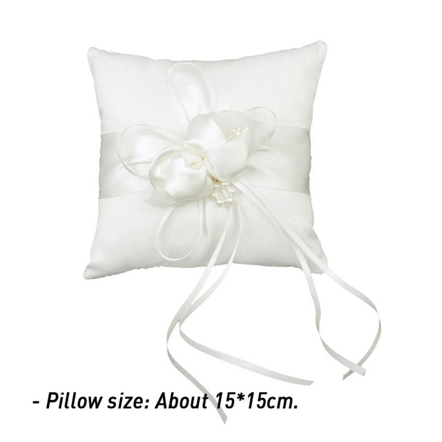 Lace Bow Ring Pillow -  Wedding Pillow - ChicShines