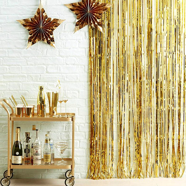 2M - 3M Metallic Foil Tinsel Fringe Curtain - ChicShines