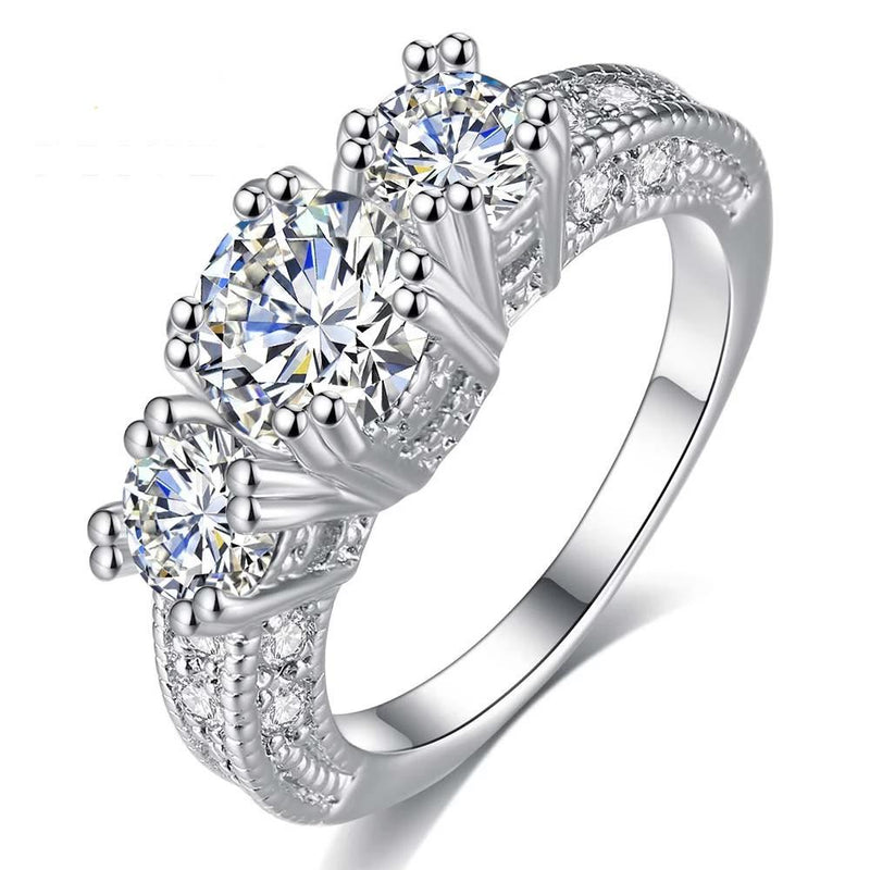 3 Stones Zircon Crown Ring - White Gold - ChicShines