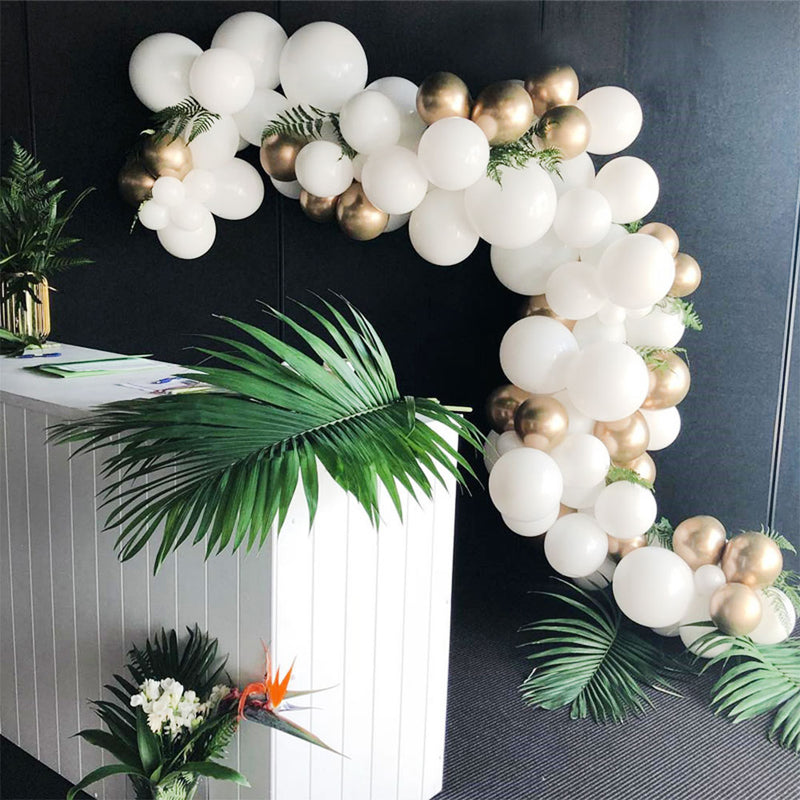Gold And White Balloon Arch - 134 ct - ChicShines