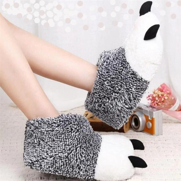 Plush Bear Claw Slippers - ChicShines