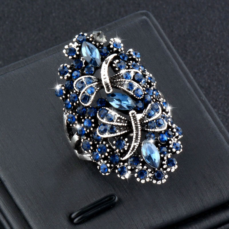 Blue Rhinestone Dragonfly Ring - ChicShines