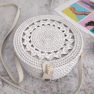 Round Summer Rattan Bag - Neutrals, Whites - ChicShines