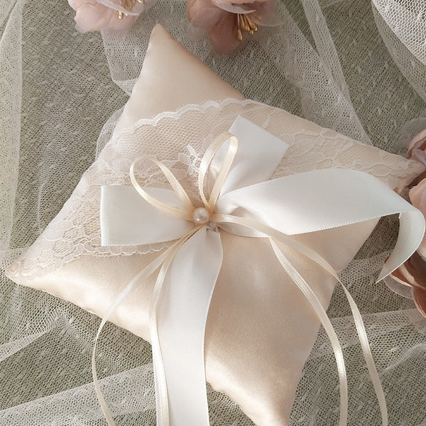 Champagne Lace Ribbon Wedding Ring Pillow - ChicShines