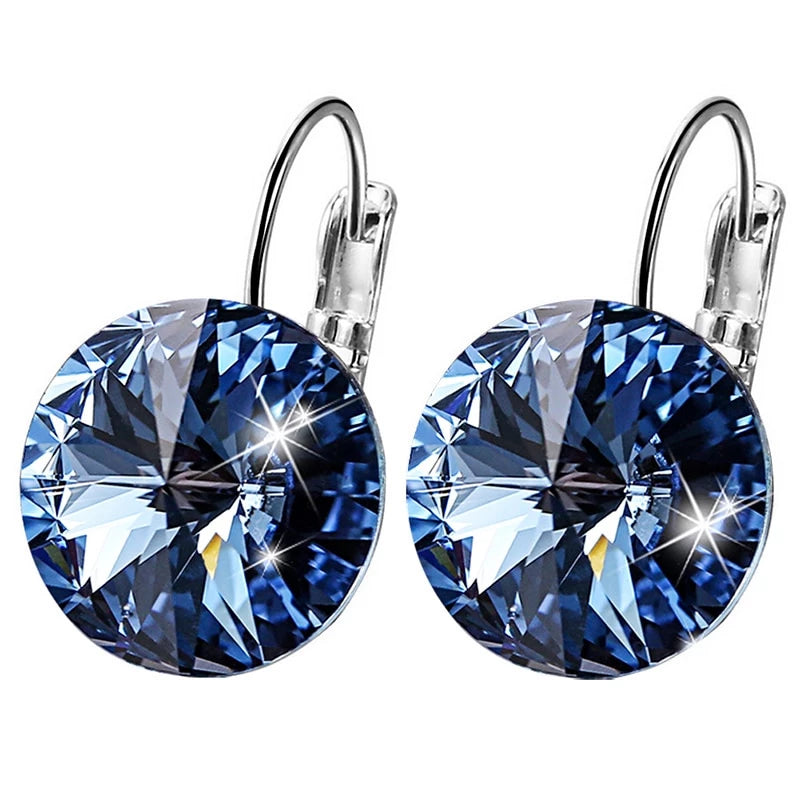 Swarovski Crystal Round Stone Drop Earrings - ChicShines