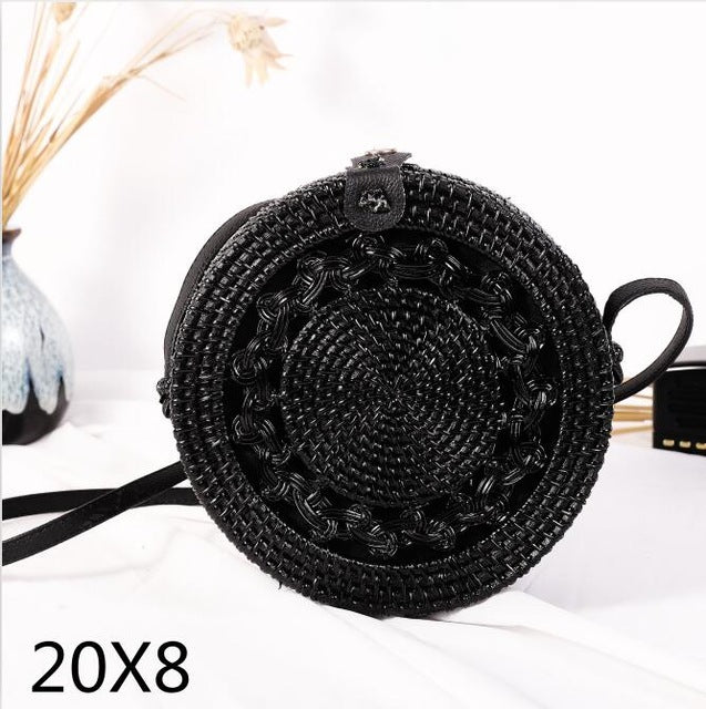 Vintage Handmade Rattan Woven Shoulder Bags PU Leather Straps Bow Hasp Holiday Beach Crossbody Bag Messengers Women Handbag - ChicShines
