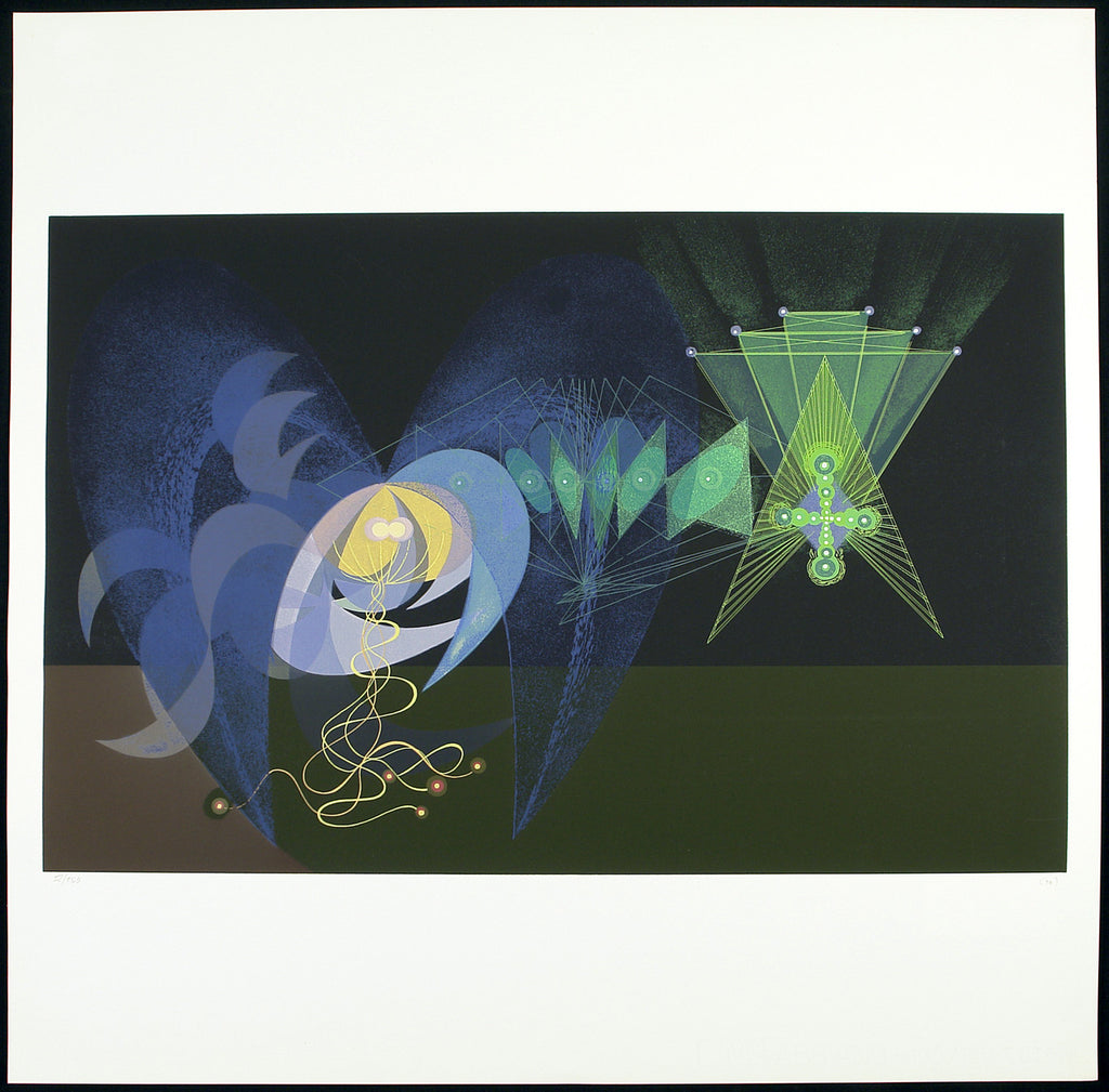 "Russian avant-garde. ""The green mountain ghost"", 1969. Serigraph by Galina Georgievna BITT"