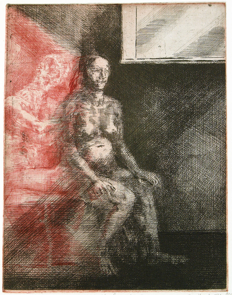 "Art from the GDR/Leipzig School. ""Wart' auf mich..."", 1984. Etching by Ulrich HACHULLA"