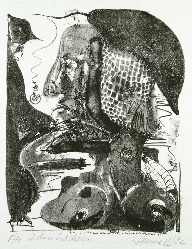 "Art from the GDR. ""Leckermäulchen"", 1982. Lithograph by Wolfgang HENNE"