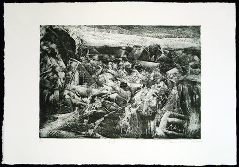"Art from the GDR. ""Dorf"", 1985. Etching by Gunter HERRMANN (*1938 D)"
