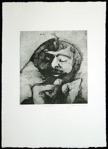 "Art from the GDR. ""Kontemplation"", 1984. Etching by Gunter HERRMANN (*1938 D)"