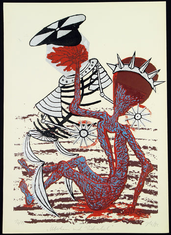 "Art from the GDR. ""Überkain und Widerabel"", 1985. Silkscreen by Juergen HOERITZSCH"