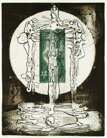 """Kreuzigungsszene"", 1970. Aquatinta and embossing print by Maricka KLIMOVICOVA"
